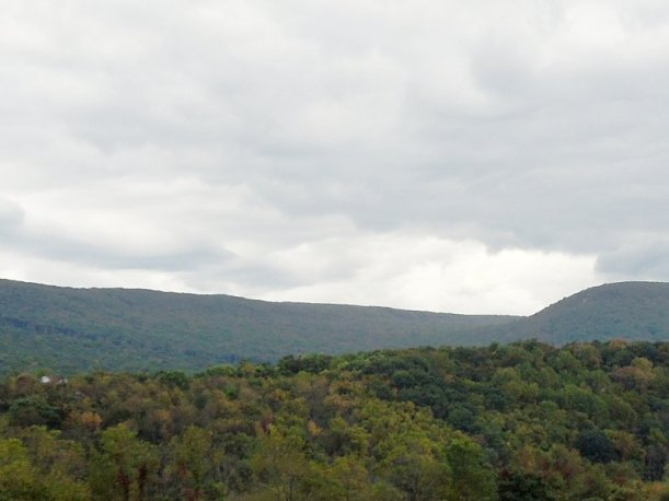 Forested hills against a cloudy sky