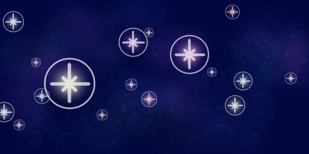 Why This Way symbols like stars on a midnight sky