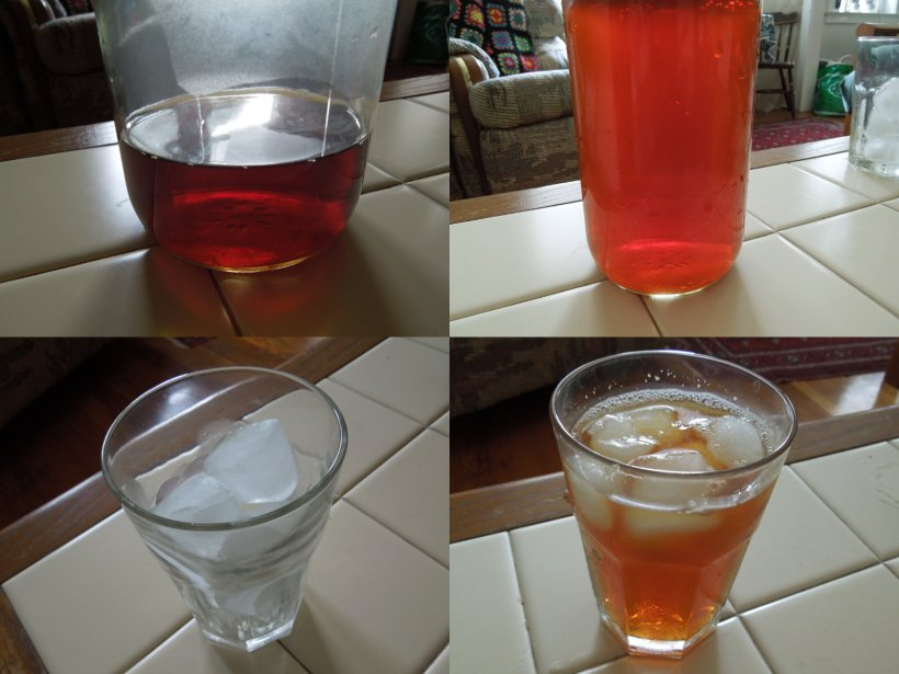 Four photos showing concentrated iced tea, diluted iced tea, a glass of ice, and a glass of iced tea