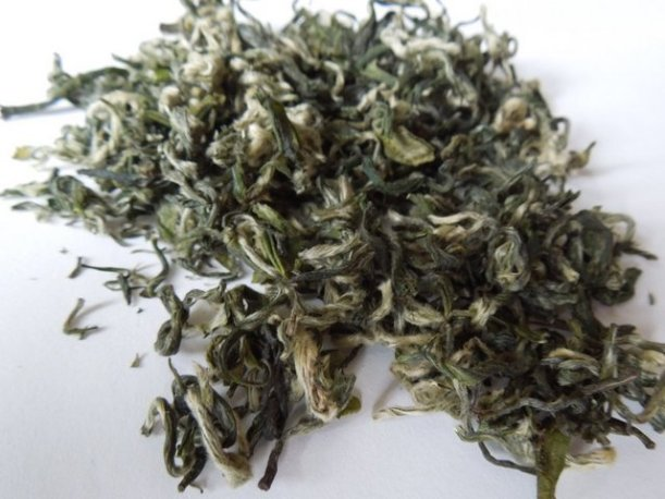 Loose-leaf green tea with very curly leaves