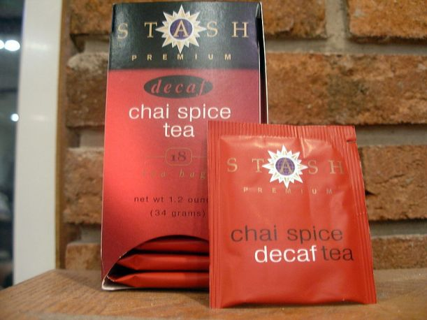 "Decaffeinated flavored or spiced teas, like this ""chai spice tea"" sold by Stash, often come out better than pure decaf teas, because the additional flavorings can be added after the decaffeination process removes much of the flavor from the tea.  Photo by JHoltzman, licensed under CC BY-SA 3.0."