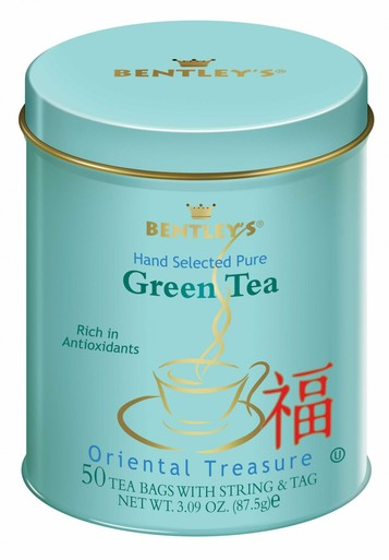 A can of Oriental Treasure Green Tea from Bentley's Tea